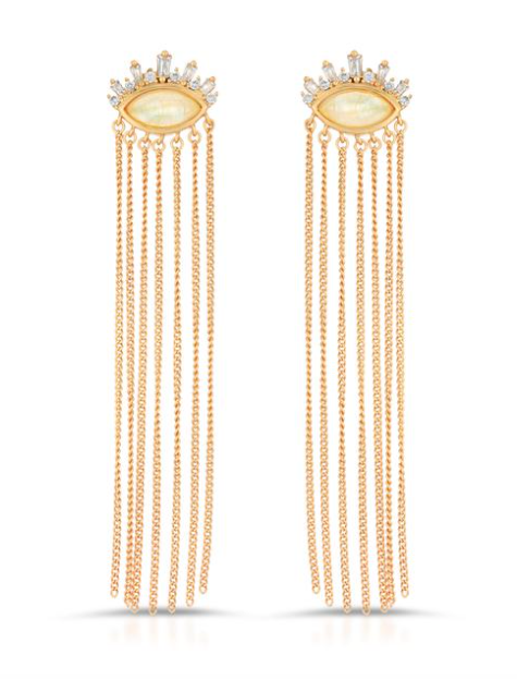 Athena fringe earrings, Moonstone