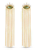 Athena Chain Drop Earrings, Emerald Tourmaline