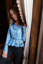 Blue Chantilly Lace Top / Blouse