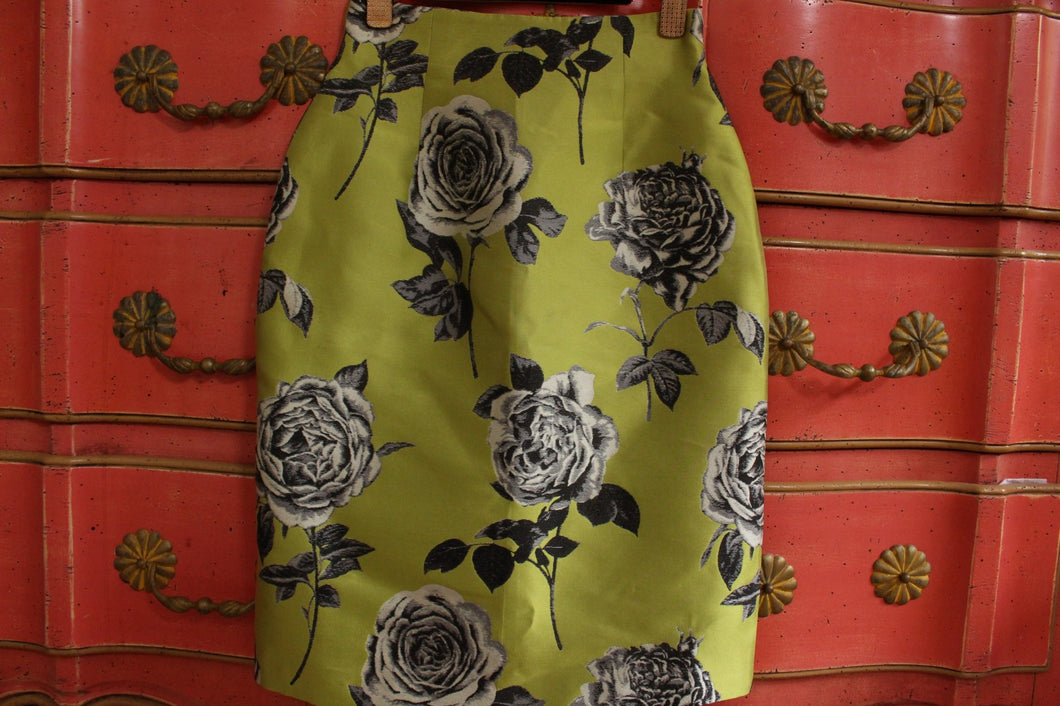 Green Rose pencil skirt