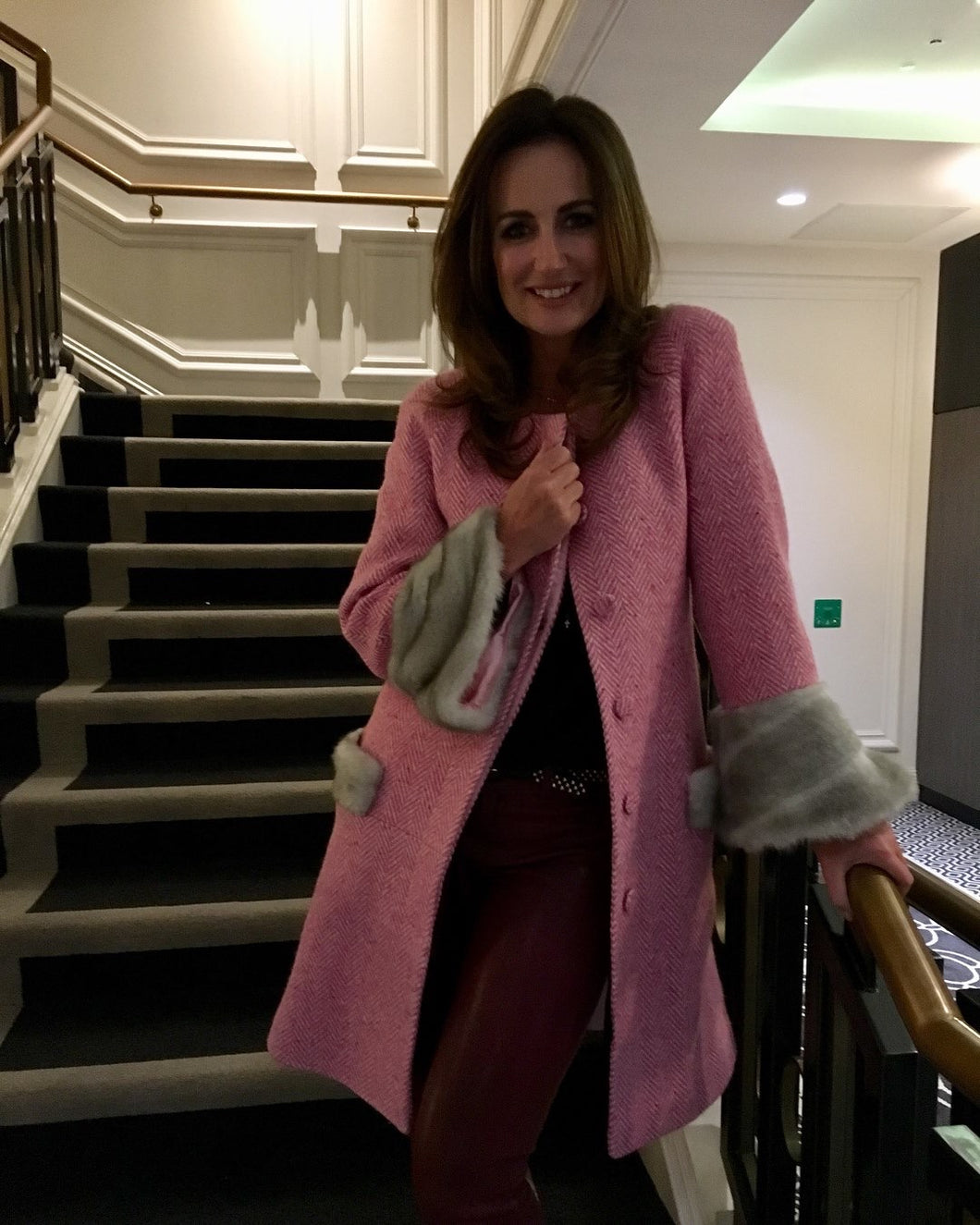 Luxury Pink Tweed Coat
