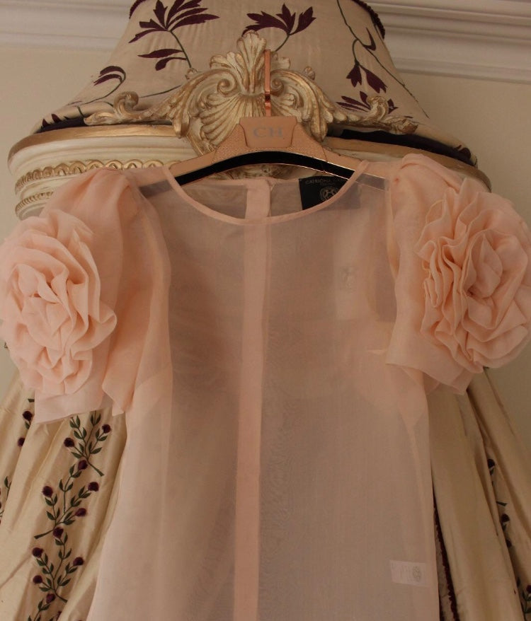 Light Salmon Organza Twin Rose Blouse