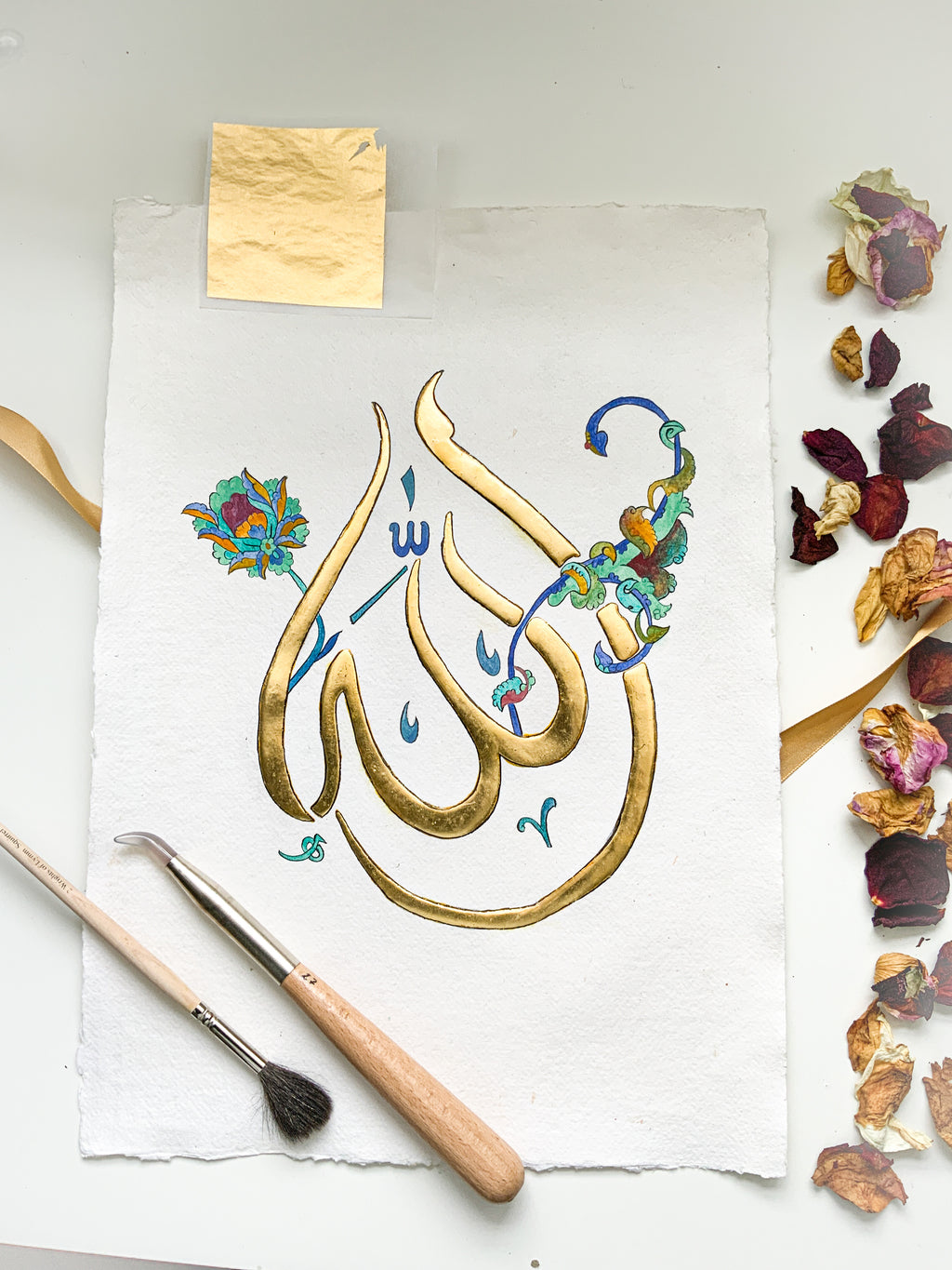 'Allah', a 24k gilded painting, A3