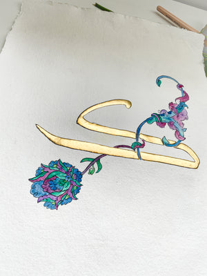 """Kaaf"", a 24k gilded Arabic letter, A3"
