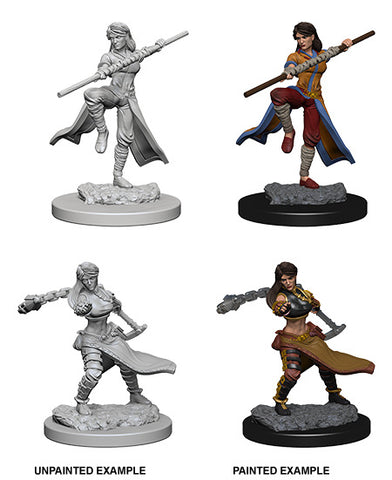 D&D Human Female Monk - Unpainted Miniature