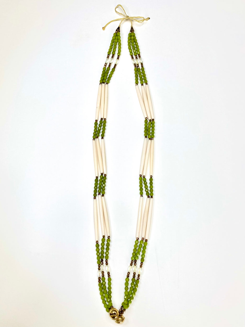 Bone & Beads Necklace - Olive