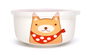 Microwavable Ceramic Rice Bowl Salad Bowl Food Container With Seal Fine Porcelain Round Shape SMALL