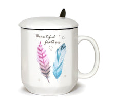 Ceramic Mug Elegant Feather Design with Spoon and Lid