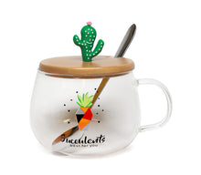 Cute Succulent Mug Glass Mug with Spoon and Wood Lid
