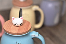 Cute Cat Milky Ceramic Mug With Spoon And Wood Lid