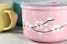Microwavable Ceramic Noodle Bowl with Handle and Seal Sakura Snow Flake Floral Design