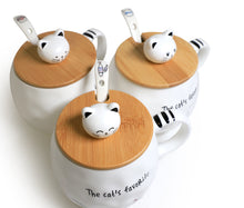 Cute Cat Ceramic Mug with Spoon and Wood Lid