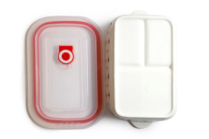 Microwavable Ceramic Bento Box With Seal Rectangular Shape With Dividers