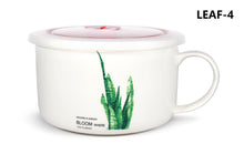 Microwavable Ceramic Noodle Bowl with Handle and Seal Fine Porcelain Green Leaf Design
