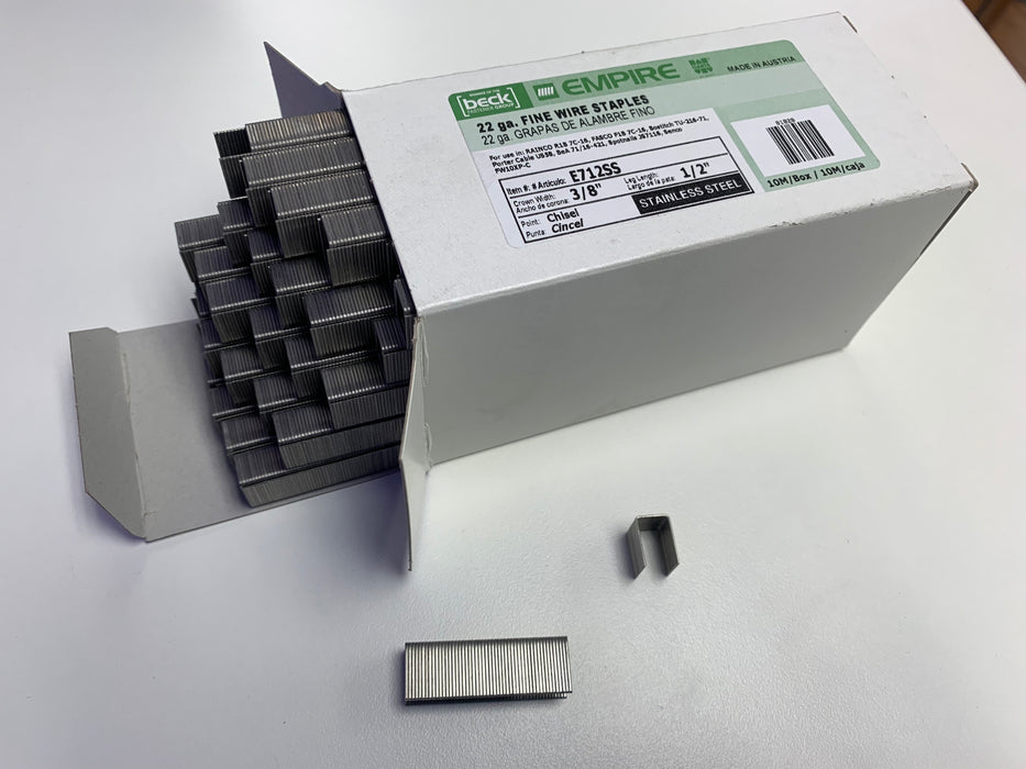 "Stainless Steel Crown Staples - 1/2"" - Box of 10,000 (#11070)"