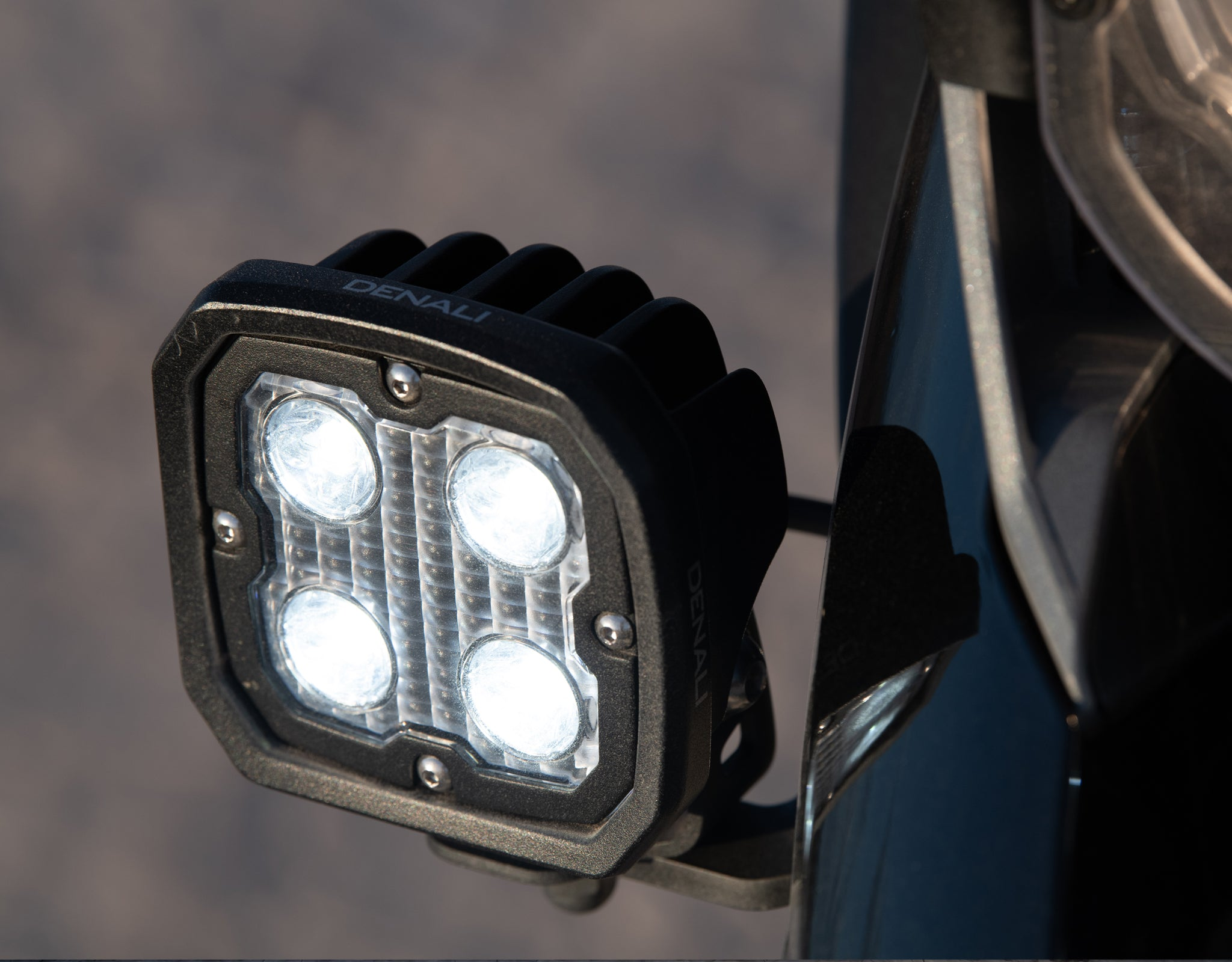 D4 Light Kit mounted to R1200GS Vehicle-Specific Light Mount