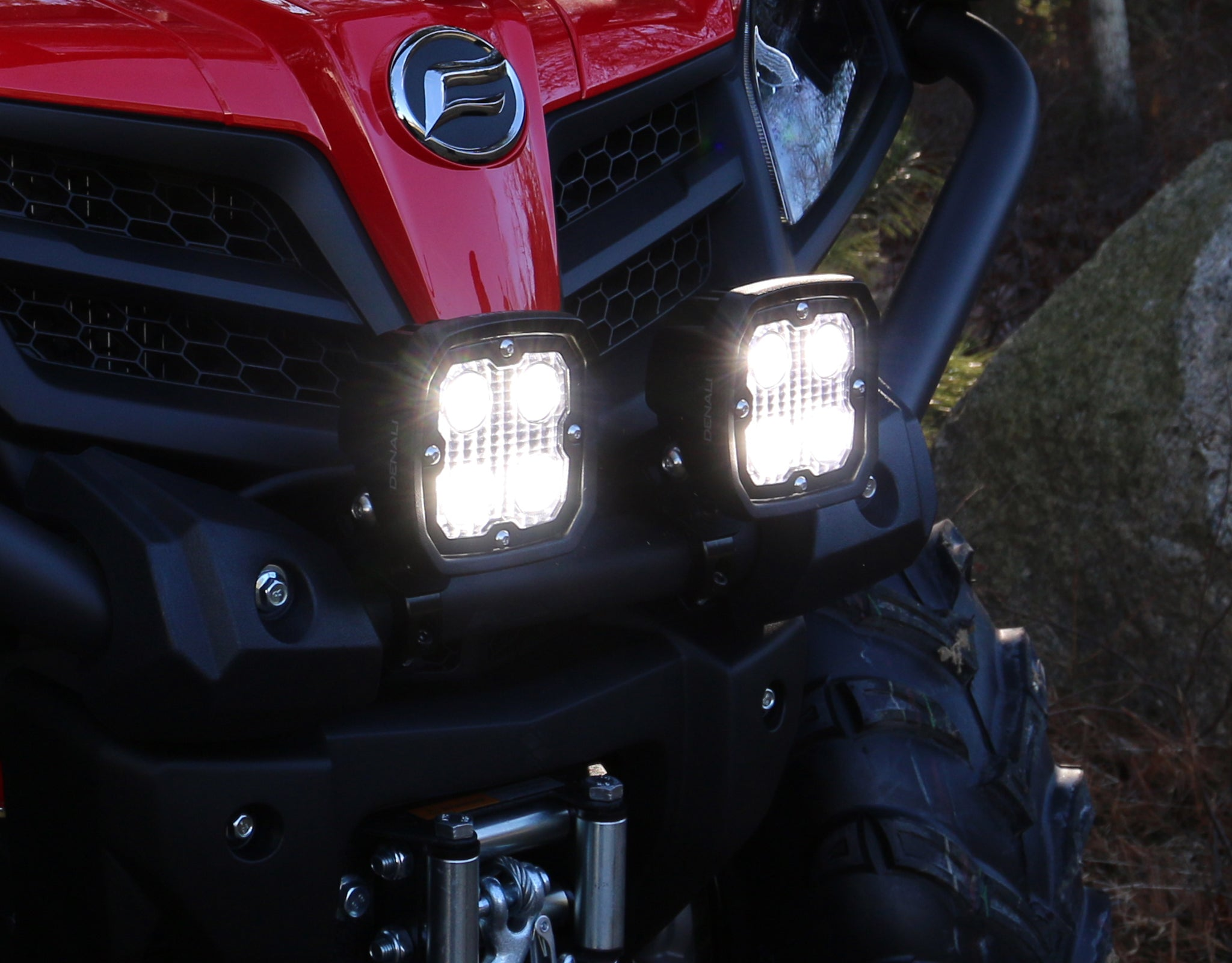 D4 LED Light Kit Mounted to front bumper using the Universal Bar Clamp Light Mount