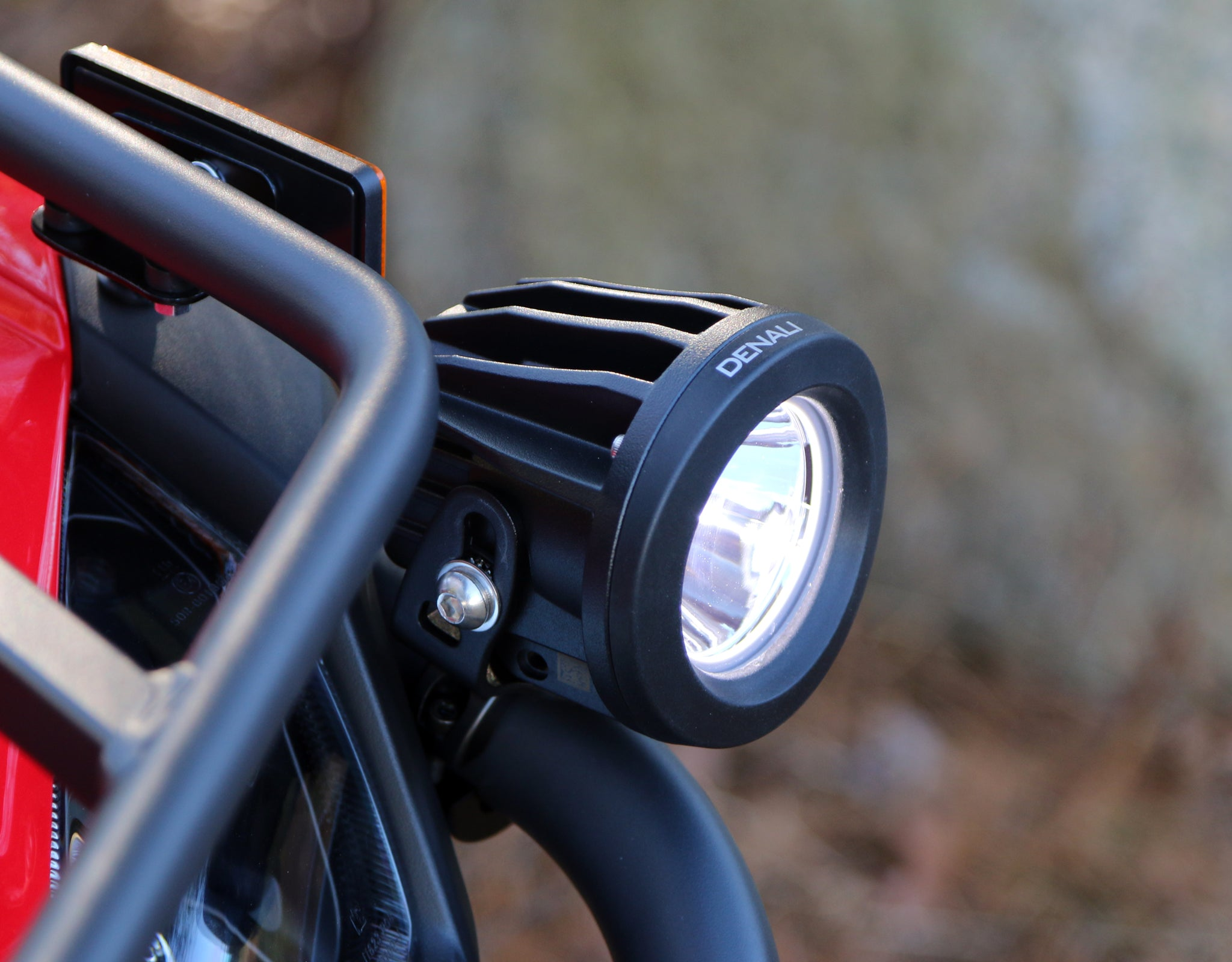 DR1 LED Light Kit mounted to bumper using Universal Bar Clamp Light Mount