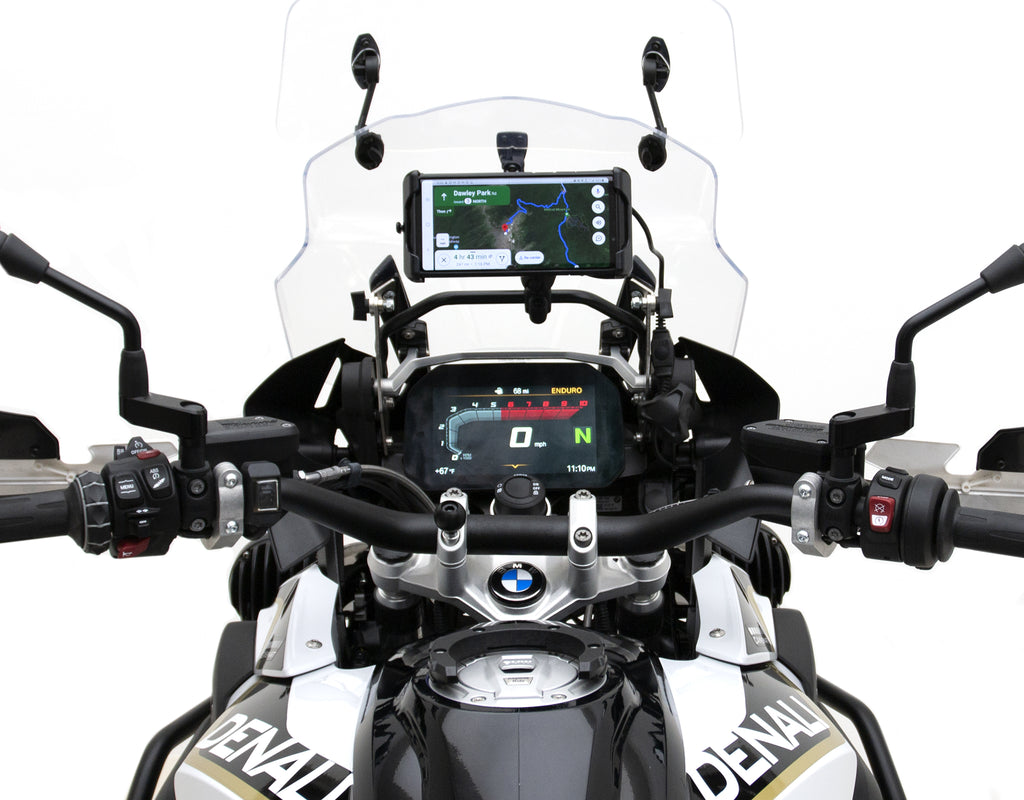 Rally Phone Mount Kit with Wireless Charging Plug-&-Play Harness - BMW R 1250 GS