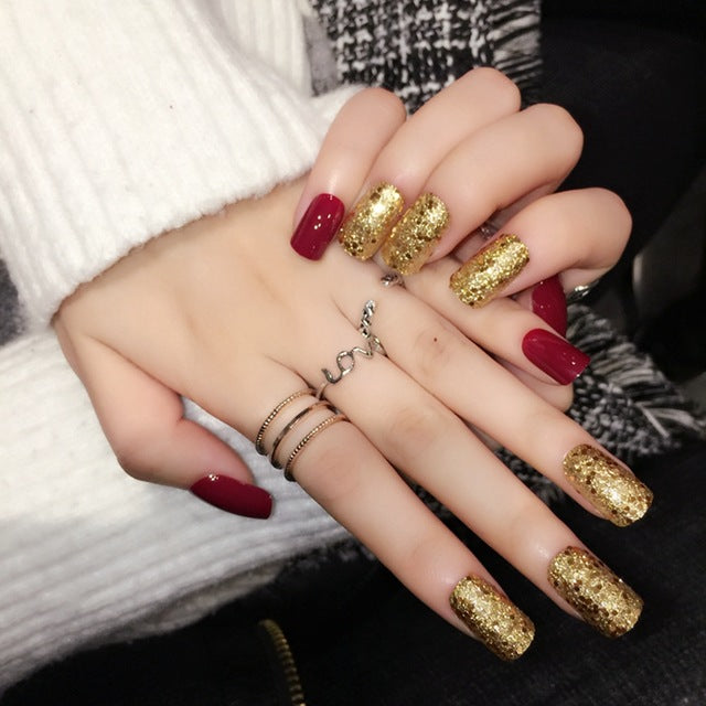 Faux Ongles Rouge Brillant
