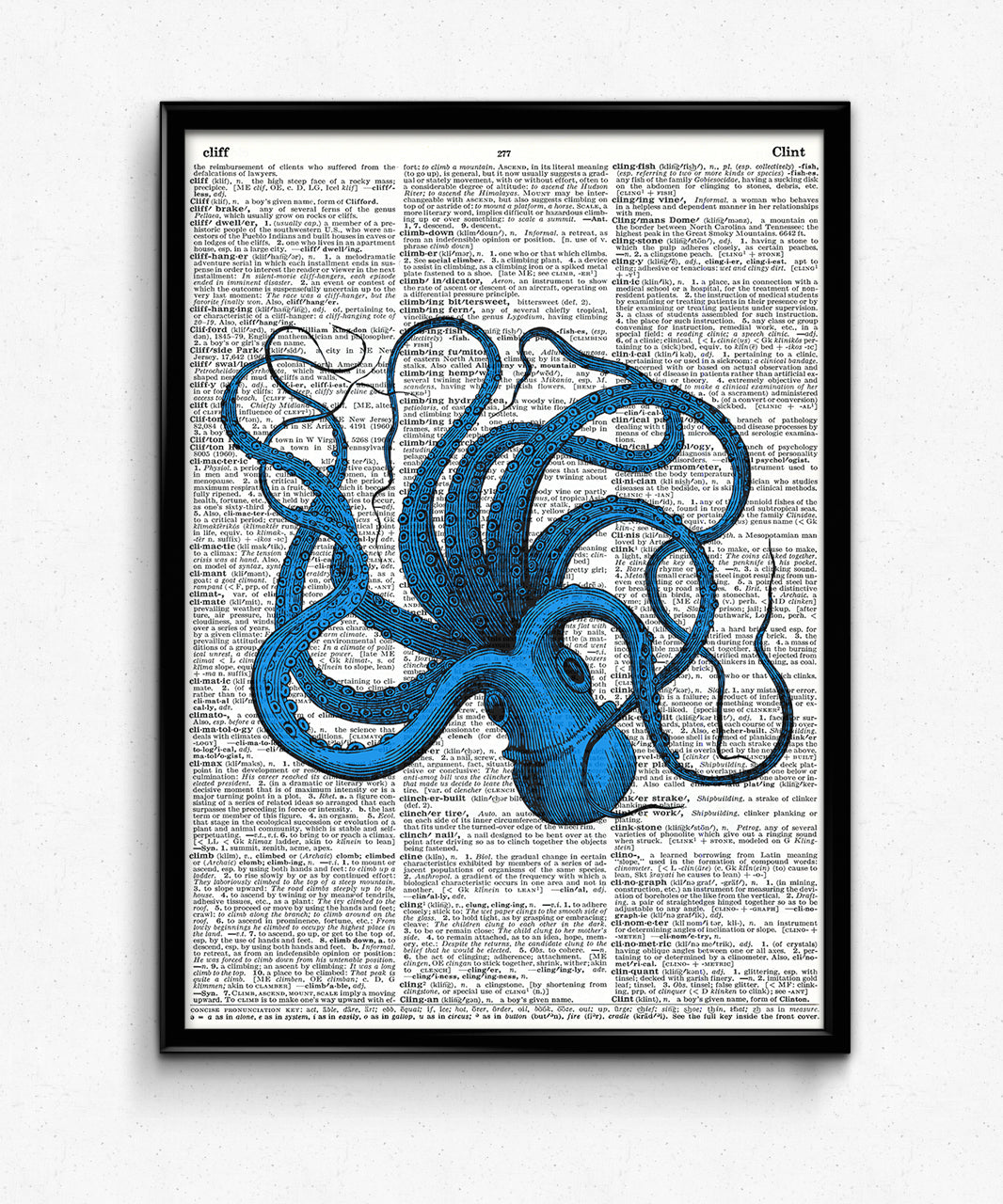 Upside Down Octopus Dictionary Art Print Evergreen Print And Paper Co