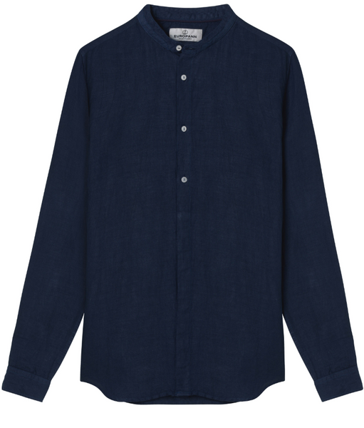 Mao Collar Linen Shirt, Navy