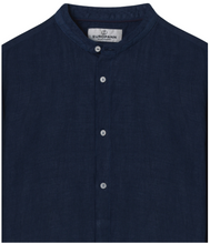 Load image into Gallery viewer, Mao Collar Linen Shirt, Navy