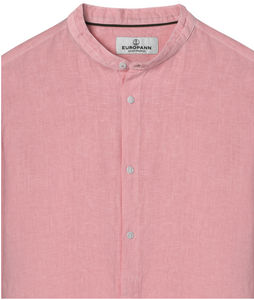 Mao Collar Linen Shirt, Pink