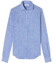 Load image into Gallery viewer, Linen Stripe Shirt, Blue