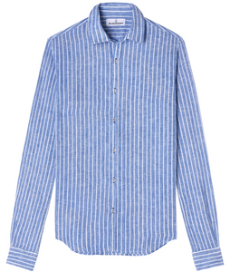 Linen Stripe Shirt, Blue