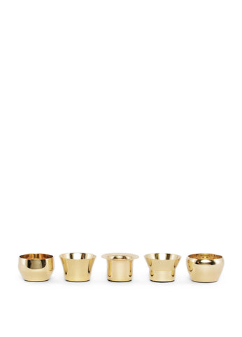 Skultuna Set of 5 Kin Candleholders in Polished Brass