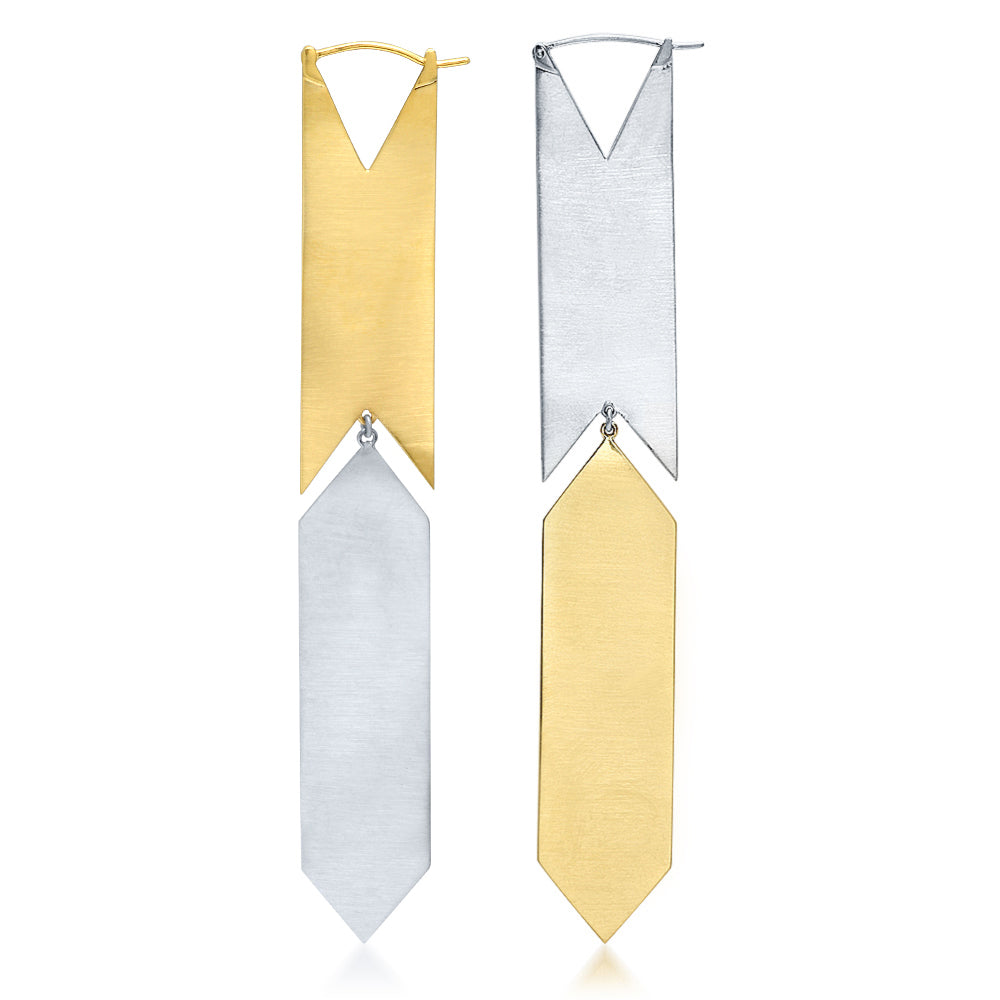 HSH x Ashley Morgan Two-Tone Gold 14K White and Yellow Gold Kite Earrings