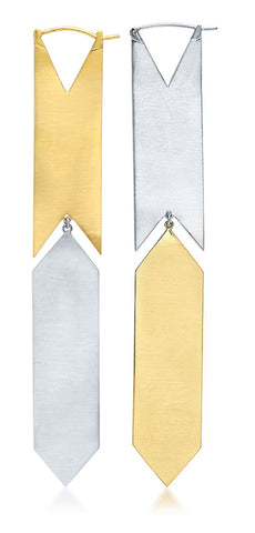 HSH x Ashley Morgan Sterling Silver and 14K Yellow Gold Small Kite Earrings