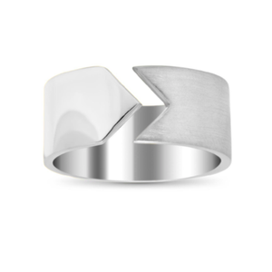HSH x Ashley Morgan High Polished Silver and Brushed Silver Kite Ring