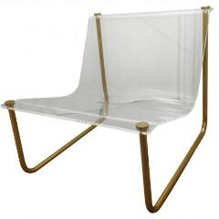 Vintage Charles Hollis Jones Lucite and Brass Sling Chair