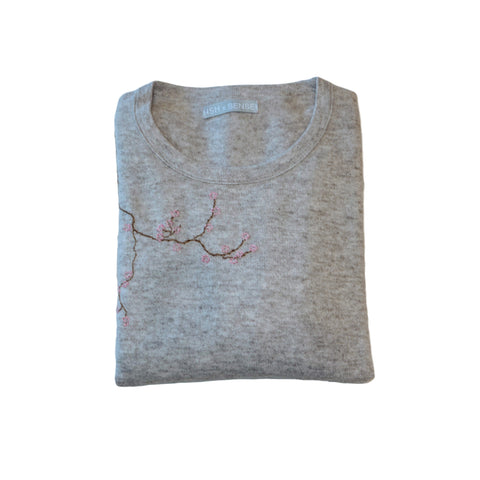 Cherry Blossom Hand-Stitched Women's Sweater