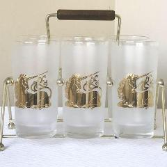 Vintage Culver 22kt Gold Unicorn Frosted Highball Glasses