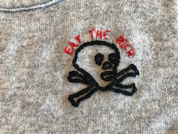 JEN AMENT Eat the Rich Hand-Stitched Women's Sweater