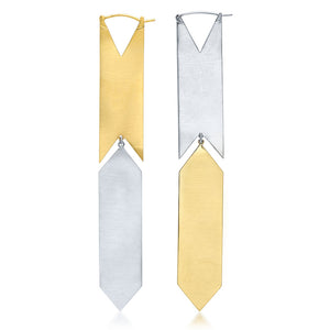 HSH x Ashley Morgan Silver and 14kt Yellow Gold Kite Earrings