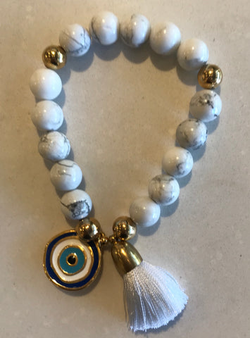 Sunny Somewhere Bracelet - Large White Stones with Evil Eye Charm