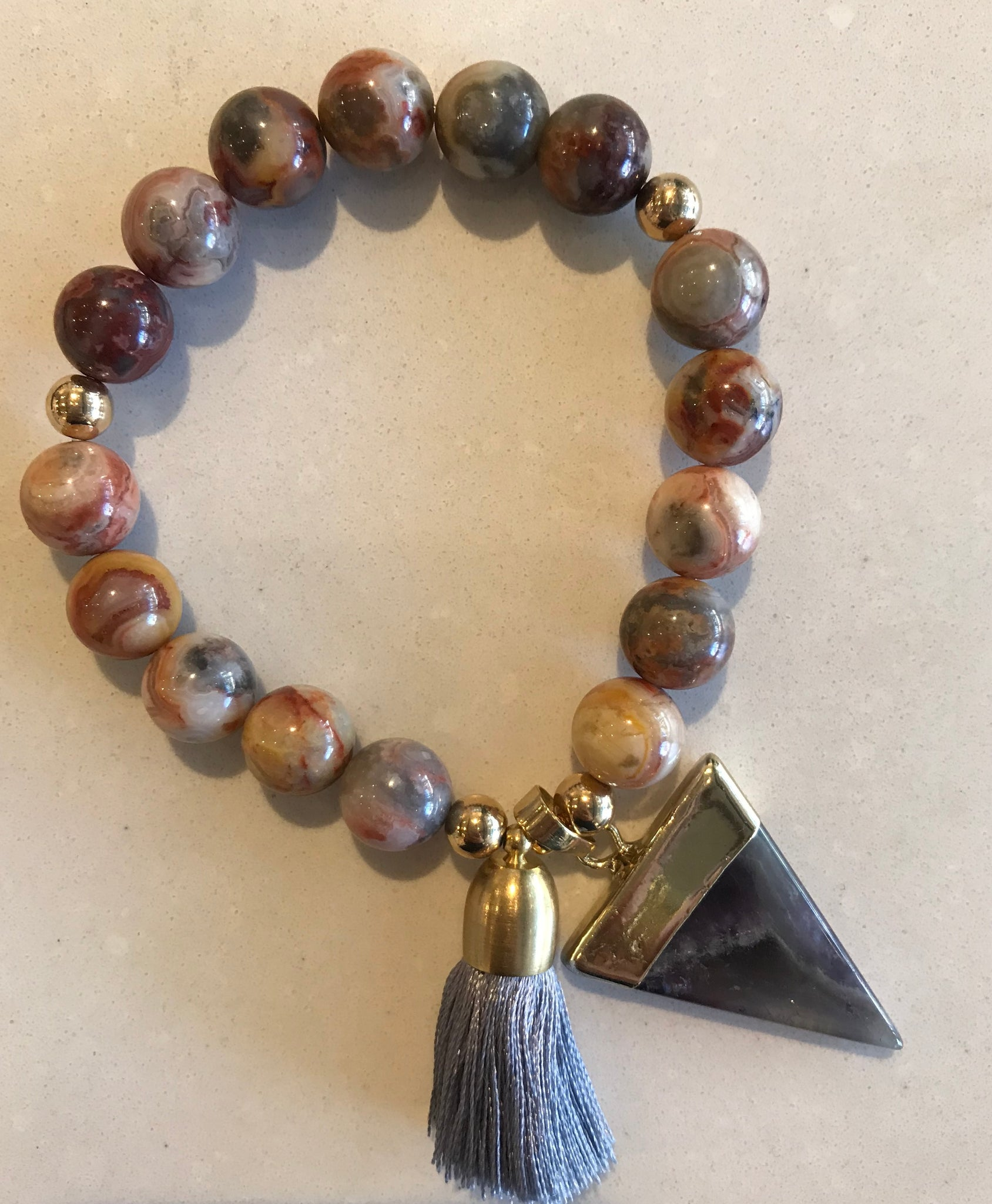 Sunny Somewhere Bracelet - Large Earth Tones with Stone Charm