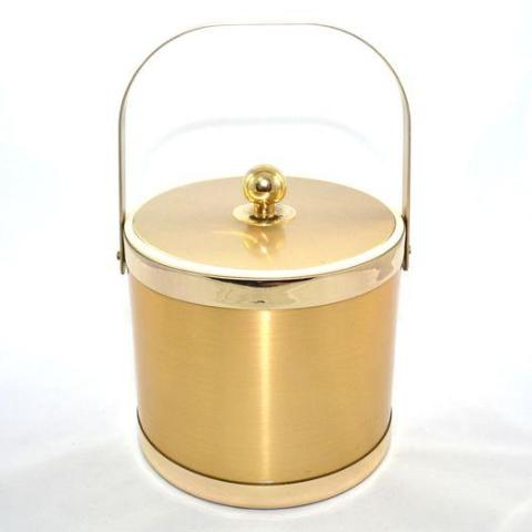 Vintage Brushed Metal Ice Bucket by Georges Briard