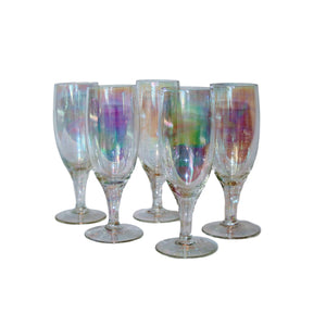 Vintage Iridescent Rainbow Champagne Flutes