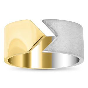 HSH x Ashley Morgan 14kt Yellow Gold and Brushed Silver Kite Ring