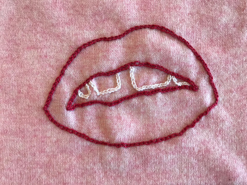 JEN AMENT Mouth/Lips Hand-Stitched Women's Sweater