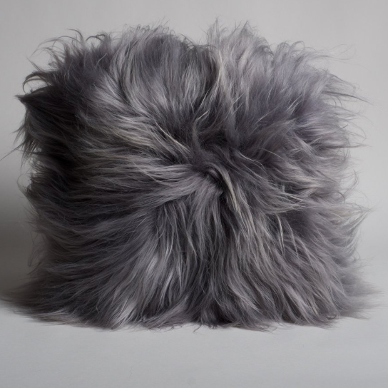 Grey Icelandic Sheepskin Pillow