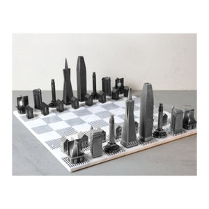 Marble Chess Board with Metal Pieces