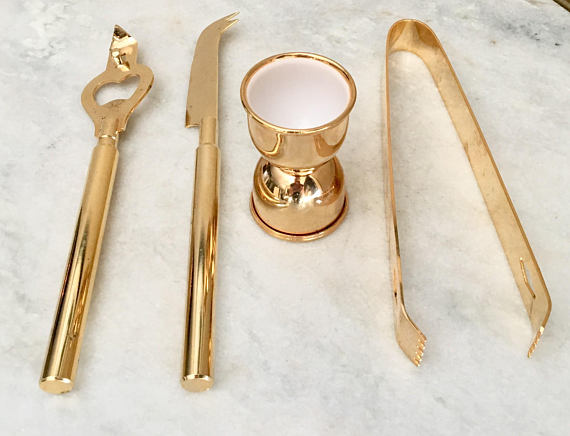 Vintage Gold Barware Set