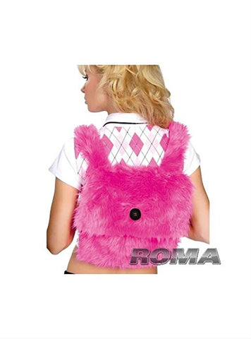 School girl accessory fur backpack Hot Pink