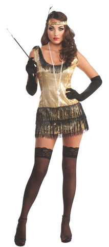 Adult deluxe All that jazz gold sequin flapper dress